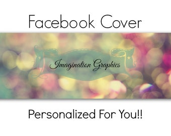 Facebook Cover Photo, Pre-Made, Pastel Bokeh, Facebook Cover Will Be Personalized Just For You! Rustic, Vintage Flavor