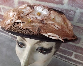 beautiful circa 1950 brown hat with flowers
