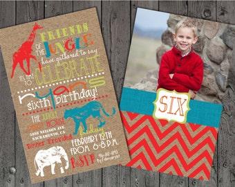 Jungle Birthday Invitations, Birthday Invitations, Safari Birthday Invitations, Photo Birthday , Zoo Birthday Invitations, Kraft Paper