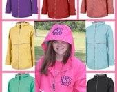 Monogrammed Monogram Rain Coat Jacket Womens Personalized Coral Aqua Yellow Mint Pink