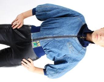 Vintage Lee Cropped Denim Zip Up Jacket