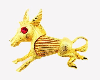 Horse Brooch - gold tone Metal - Red Rhinestone - Donkey pin