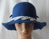 Handmade Royal Blue Wool Felt Ladies Dress/Church Hat