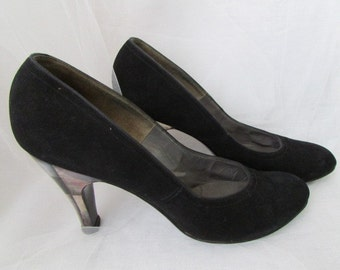 1950's J MILLER Evins black PUMPS with ABALONE heels 9640 Size 7aaa Bombshell Pin Up costume Gs