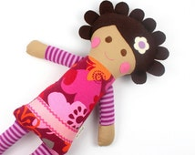 soft jersey doll | Cleo snuggle doll | pink and orange knit cloth doll | girl rag doll | handmade doll | stripes and flowers