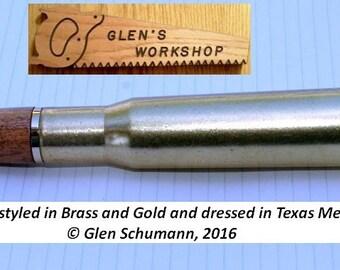 50 cal Bullet Pen brass, Gold Texas Mesquite Desk Pen