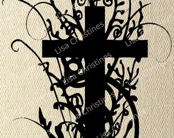 Cross, Easter Illustration, Instant Download, Clipart, Digital Transfer Image for Papercrafts, Pillows, Fabric, Iron on Transfer 241