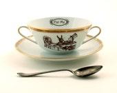 Alice in Wonderland Tea Party We're All Mad Here Cereal Mug Soup Bowl Vintage Altered  Porcelain Gold  White Brown Romantic
