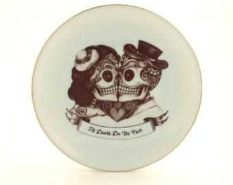 SALE  Kiss Sugar Skull Altered Vintage Plate Porcelain Till Death Do Us Part Day of the Dead Couple Mexico Halloween