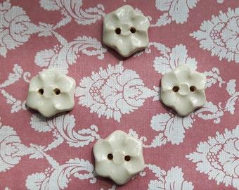 Flower Buttons - handmade ceramic - Cream - set of 4