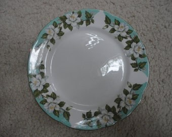 Vintage Montrose Gladstone Bone China Dessert Plate Made in England, Montrose, Gladstone, White Dogwood Plate, Dogwood, Floral Plate