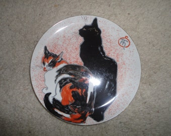 Vintage Two Cats Museum of Fine Arts Boston Limoges Made in Japan, Black Cat Plate, Black Cat Multi Color Cat Plate, Alexandre Steinlen