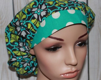 Mosaic in Turquoise with Turquoise Polka Dot Band,Bouffant Women's Scrub Hat, Surgical Scrub Hat, OR Nurses Scrub Hat, Scrub Cap