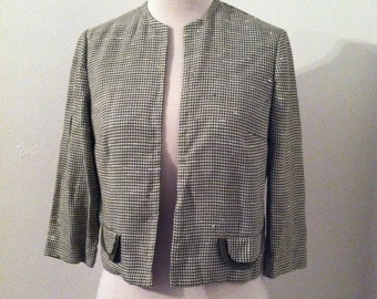 1960s Dress Jacket Petti Green Houndstooth Cropped Ladies Dress Jacket 1960s Top