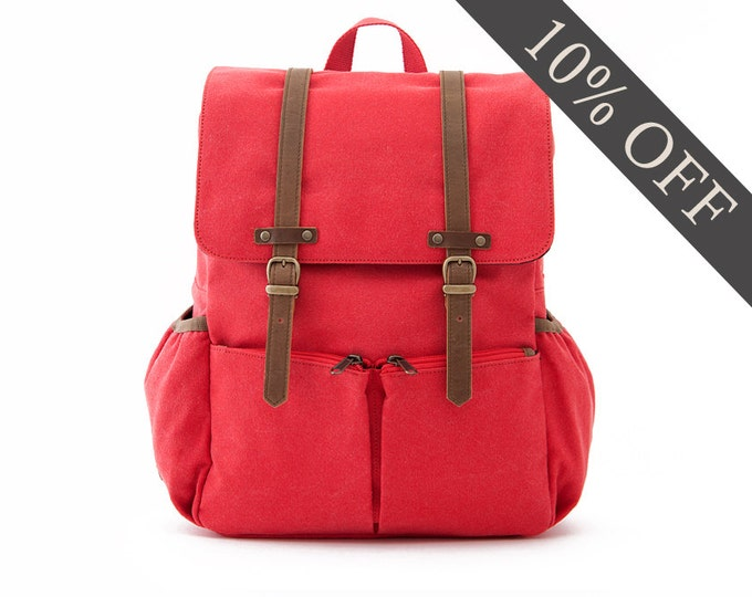 Diaper Backpack / Diaper Bag / Casual Daypacks / Canvas Backpack / Red Canvas / LIGHTDAYS
