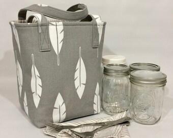 Mason jar carrier bag - Pint 4 jar Jars to Go bag grey with feathers and woodgrain mason canning jar lunch picnic shopping tote bag