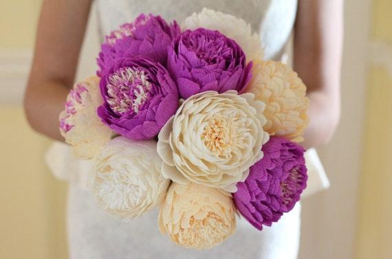 paper flowers, paper flower, ivory paper flowers, peonies, large paper flowers, paper flower bouquet, handmade paper flowers, paper peonies