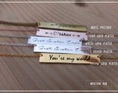 20% off // Engraved Custom Name Bar necklace - Personalized Signature Necklace -  Bridesmaid , mother, Valentine gift