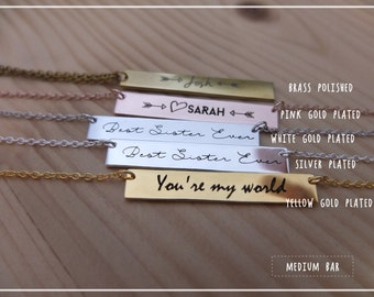 Engraved Bar Necklace- Engraved Custom Name Bar necklace -Personalized Bar Necklace -Custom Name Plate Necklace.