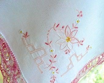 Vintage Handkerchief - Woman's Hankie - Madeira Fine Cotton - Hand Embroidered in Soft Pink- Wedding Handkerchief - Purse Muslin Hankie