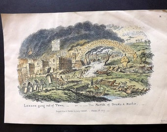George Cruikshank C1885 HC Caricature Print. London going out of Town