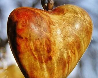 Heart Pendant Big Leaf Maple Burl Necklace