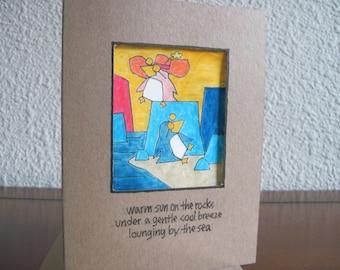 Warm Sun on the Rocks -- ORIGINAL handmade note card, haiku card (#NCC036)