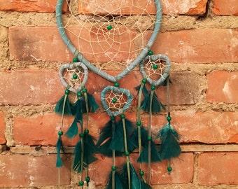Heart Shape Blue & Turquoise Bohemian Dream Catcher