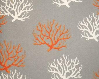 1 yard OUTDOOR Isadella Cirtrus -  Premier Prints -  Home Decor Indoor / Outdoor Coral Fabric - Orange, white on Grey