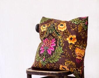 "chocolate linen pillow, SINGLE, 20""x20"", flax pillow, Jacobean pattern, throw pillow, Victorian decor, large throw pillow floral pillow case"