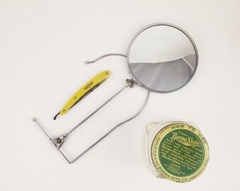 Shaving - Vintage Neck Mirror - Plus a Zartina Straight Edge Razor - Plus A Hazel Atlas 'Burma-Shave' Jar - Shaving History - Early 1900s