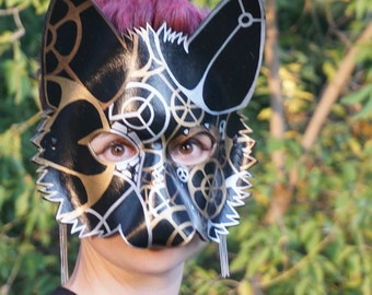 Black, Gold, Silver and Copper Steampunk Leather Wolf Mask, Leather Mask, Wolf, Theater Prop, Costume, Cosplay, Garb, Gear