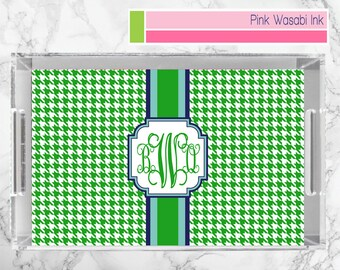Monogrammed Lucite Tray Personalized Acrylic Tray Custom Serving Tray Houndstooth Lucite Tray Choose Colors