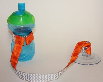 Sippy Cup Leash | Sippy Strap | Sippy Cup Strap Suction Cup | Bottle Tether | Sippy Cup Strap | Suction Sippy Strap | Orange Dot / Chevron
