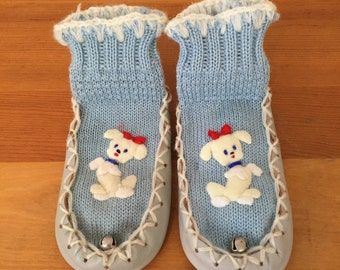 60s Tee Vee Sox Light Blue Slippers with Puppy Applique, Kids Size 5-1/2, 1 to 2 years, Original Box