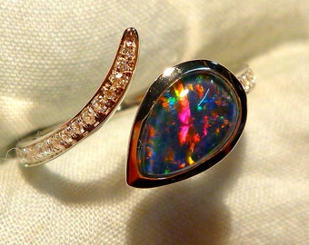 Opal Ring Ladies Sterling Silver 925 & CZ, 9x6mm Teardrop Triplet. item 100911.
