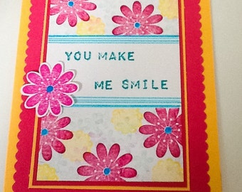 Thank you Hand made cards: Bright pink and yellow card - you make me smile - fuchsia flowers - hand stamped - Wcards