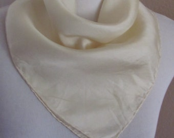 "Bill Blass Solid Ivory Mens Pocket Square Silk Scarf  Handkerchief 18"" x 18"""