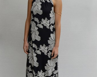 Kupu Kupu Halter Maxi Dress in Black & White