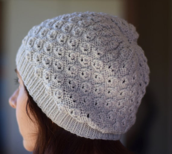 Textured Lace Knit Hat Pattern - LINDEN SLOUCHY Hat Knitting Pattern PDF - Di...