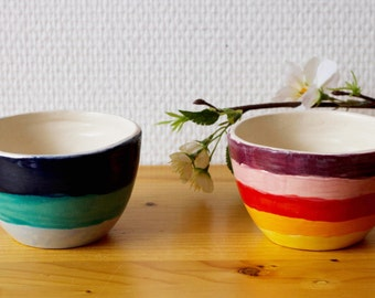 Two Tea bowls with stripes