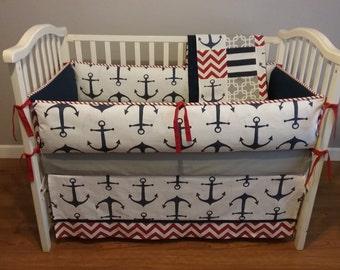 Anchor Navy Crib bumper , Nautical, Navy / White/Red  Baby Bedding.