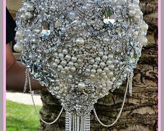 CRYSTAL Brooch Bouquet, Deposit Only for 9 inch Custom Silver Brooch Bouquet, Broach Bouquet, Jeweled Wedding Bouquet