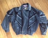 Ladies Giorgio Graziano by Fontanelli Leather Jacket, Made in Italy, Black and Gray Leather Fashion Motorcycle Jacket