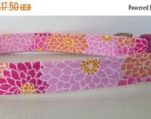 "Sale 50% Off Shades of Pink & Salmon Chrysanthemum Floral Dog Collar - ""Angie"" - NO Extra Charge for colored buckles"
