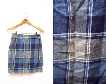 80s Blue Plaid Wool Wrap Around Pencil Skirt Women's 4