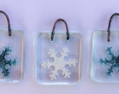 Three Recycled Fused Glass Tree Decorations...