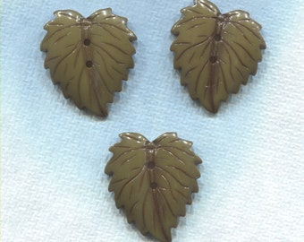 3 Large Green Realistic Leaf Buttons - (M53)