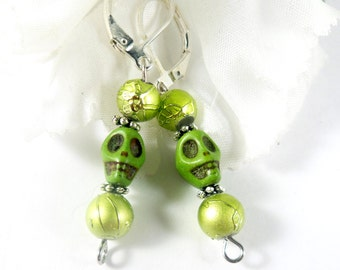 Lime Green Sugar Skull Earrings, Mardi Gras Earrings, Goth Earrings, Dia de los Muertos Gothic Earrings, Day of the Dead Skull Jewelry