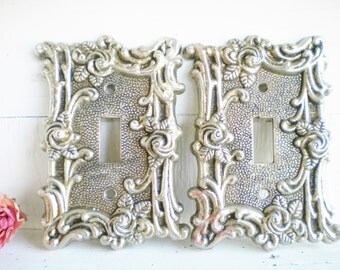 French Light Switch Cover Decorative Switch Plates Brass Vintage Single Switch American Tack Price for 2 Original Finish